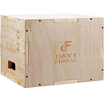 Wood Plyometric Box 16/14/12 by Day 1 Fitness 3-in-1 for Crossfit Training Jumps - Heavy-Duty Non-Slip Plyo Boxes with Rounded Corners for Safety - Durable Conditioning Equipment