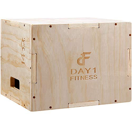 Wood Plyometric Box 16/14/12 by Day 1 Fitness, 3-in-1, for Crossfit Training, Jumps - Heavy-Duty, Non-Slip Plyo Boxes with Rounded Corners for Safety - Durable Conditioning Equipment