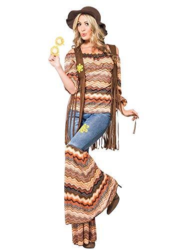 shoperama Hippie Harmony Damen-Kostüm Top Schlaghose Weste Carmen-Top 60er 70er Jahre Seventies Sixties Flower Power, Größe:XL