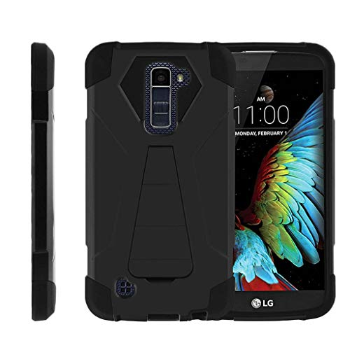 TurtleArmor | Compatible with LG K10 Case | LG Premier Case [Dynamic Shell] Hybrid Hard Absorber Impact Silicone Cover Layer Kickstand Video Games Design- Black