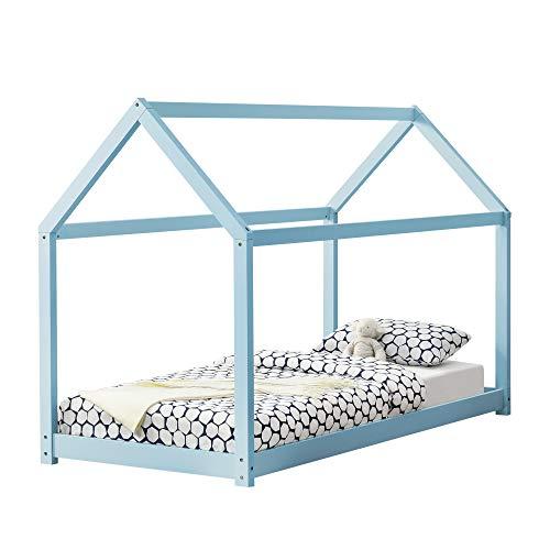 Cama casita azul