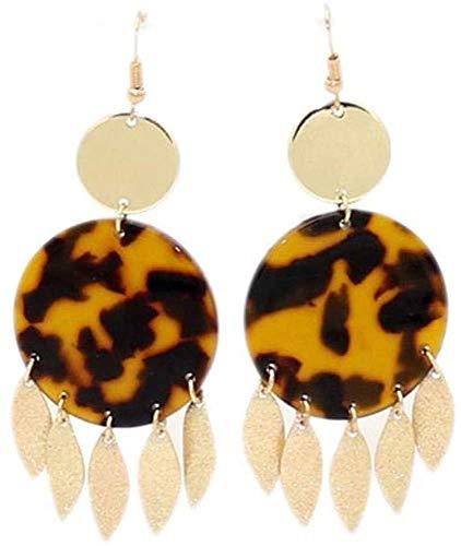 JIAJBG Pendientes Hechos a Mano Leopardo Estampado Resina Encantos Pendientes Pendientes Copper Hojas Cuelga Dorado Gancho Moda Marca Moda Mujer Joyería Pendientes Pendientes Moda