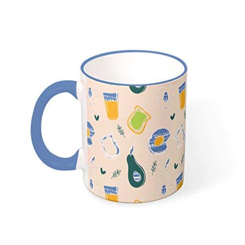 O2ECH-8 11 oz Avocado Wasser Müsli Becher Tasse mit Griff Glatte Keramik Glossy Mug - Lustige Früchte Weihnachten, Anzug für Wohnheim verwenden Steel Blue 330ml