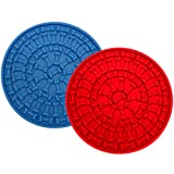 Hound & Yard 2 Pack of Dog Lick Mat Treat Pad For Dogs Cats, Encourages Slow Feeding, Enrichment Toy Soother With Suction Pad (Red & Blue (2 Pack))