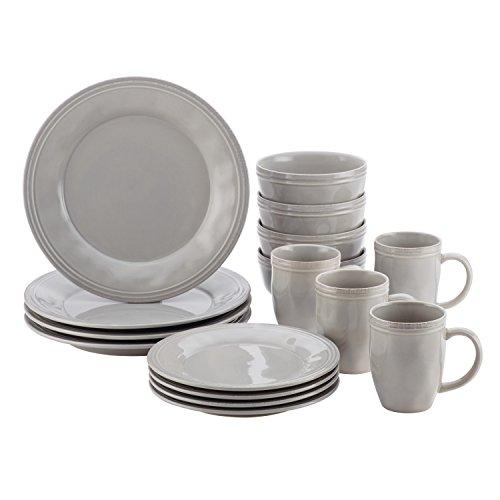 Rachael Ray Cucina Dinnerware 16-Piece Stoneware Dinnerware Set, Sea -Salt Grey