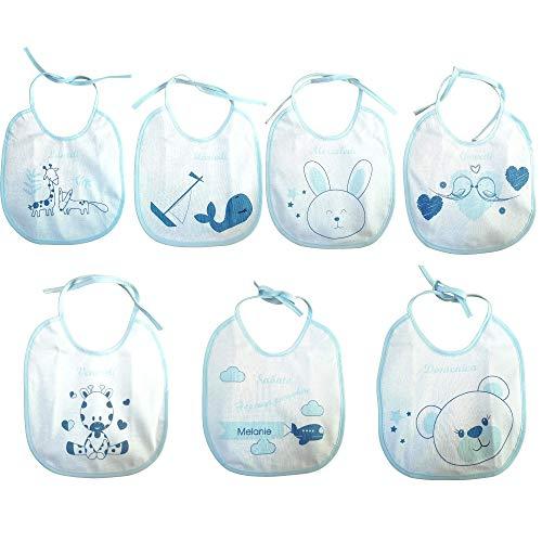 Melanie-Bavette settimanali- 7 bavaglini con giorni della settimana- Bavaglini Impermeabili- Idea regalo neonato- Bavaglini allattamento e pappa- Cotone 100% con retro impermeabile (blu)