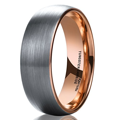 King Will Duo Unisex 6mm Classic Rose Gold Domed Tungsten Carbide Wedding Band Ring Comfort Fit 8.5