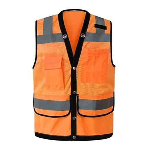 Dfghbn Chaqueta de Seguridad Reflectante Seguridad Chaleco Reflectante Día Noche Motocicleta Ciclismo Advertencia de Seguridad Chaleco Naranja Ropa Hombre (Color : Orange, Size : Small)