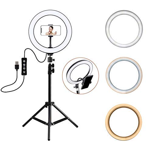 3T6B - Luce ad Anello LED, Ring Light 3 Modalità 10 Livelli di Luminosità Dimmerabile, con Treppiedi,per , per Fotografia, Streaming dal Vivo,Trucco, Youtube