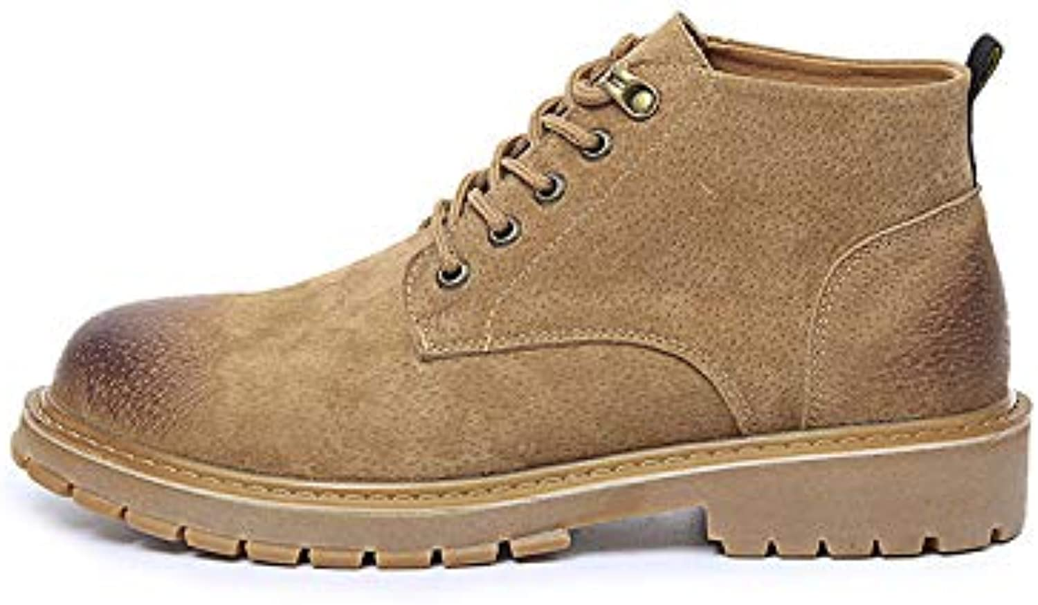 LOVDRAM Boots Men's Martin Boots Men'S Autumn And Winter Models Wild Leather Boots High To Help Fashion shoes Casual Large Size Men'S shoes