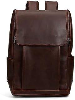 Fmdagoummzibeib Backpack, Men's Unbalanced Horse Cowhide Real Leather Laptop Backpack, Worthy Outdoor/travel/hiking/busine...