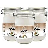 Guru Kokosöl nativ und naturrein -Bio Qualität- 1. Kaltpressung - Rohkost - Vegan - Bio-Kokosfett (3 x 1000ml)