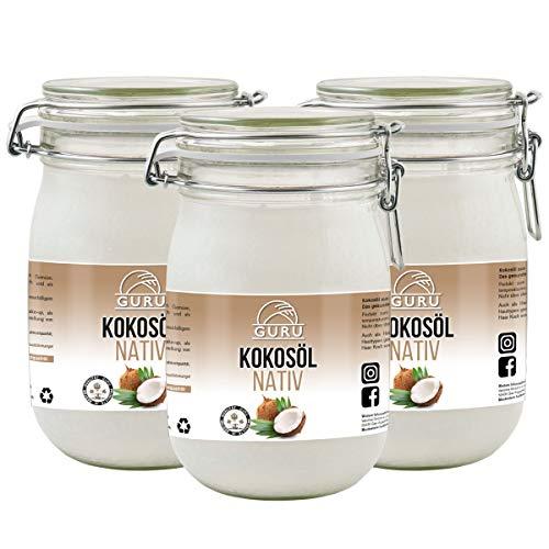 Guru Kokosöl nativ und naturrein -Bio Qualität- 1. Kaltpressung - Rohkost - Vegan - Bio-Kokosfett (Bügelglas, 3 x 1000ml)