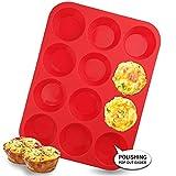 Walfos Teglie per muffin e cupcake, teglia muffin silicone in 12 tazze, Silicone antiaderente ottimo per preparare torte con muffin, crostate, pane - senza BPA e lavabile in lavastoviglie