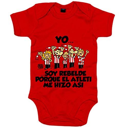 Body bebé Atlético de Madrid yo soy rebelde porque el Atleti me hizo así - Rojo, 6-12 meses
