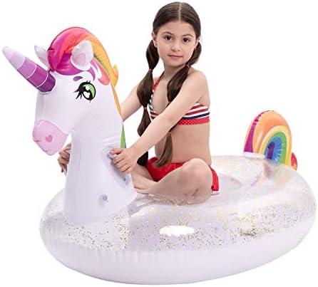 JOYIN Inflatable Unicorn Pool Float with Glitters Fun Beach Floaties Ride On Unicorn Raft Pool product image