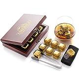 Gold Edelstahl Whisky Steine Geschenkset in der Wunderschöner Holzkiste - Hohe Kühltechnologie - 8 Whisky Eiswürfel Wiederverwendbar - Edelstahl Eiswürfel - Geschenk für Männer - Whiskey Zubehör