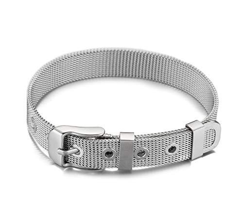 GD GOOD.designs EST. 2015 ® Buchstaben Mesh Armband Charms Anhänger (Valentinstagsgeschenk) Charmband für Damen (Silber Armband Mesh)