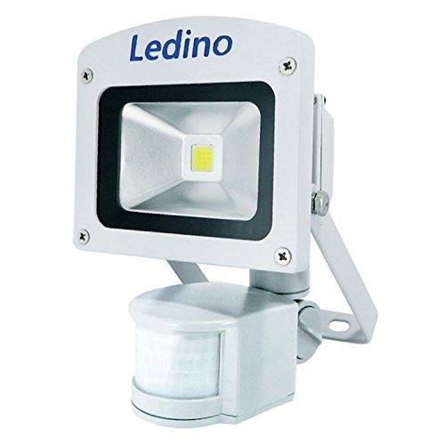 Ledino LED Außenwandstrahler Ledino LED-Flutlichtstrahler 10W Strahler mit Bewegungsmelde, Gehäusefarbe: Weiß | Lichtfarbe: Warmweiß