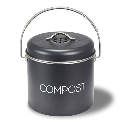 Supremery Komposteimer Mülleimer Abfalleimer für Biomüll - 3l Eimer Behälter für Müll geruchsdicht - Bioabfallbehälter für Kompost mit Schwenkgriff - inkl. Kohlefilter für Küche aus Metall