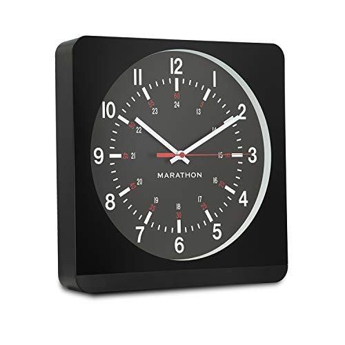 Marathon 12 Inch Silent Non-Ticking Analog Wall Clock with Warm Amber Auto Back Light. Easy to Read Classic Dial with 12 and 24-Hour Scale - Batteries Included - CL030057BK-BK1 (Black Case/Black Dial)