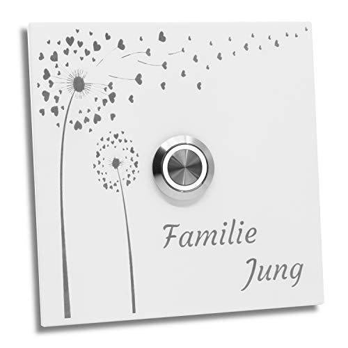 Jung-Edelstahl-Design Türklingel mit Gravur. Klingelplatte 10x10 cm. Bochum 02 weiß Pulverbeschichtet mit Motiv Blume.Klingelschild Klingel (LED weiß)