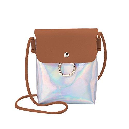 Zolimx Portable diagonal kleine quadratische Tasche Umhängetasche Handtasche, Frauen Mode Laser Cover Ring Haspe Umhängetasche Schultertasche Münztelefon Tasche (Braun)