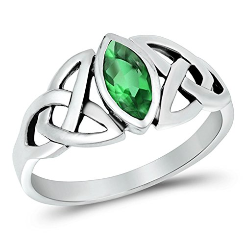 Sterling Silver Simulated Emerald Ring Irish Celtic Knot Design Band 925 New Size 7
