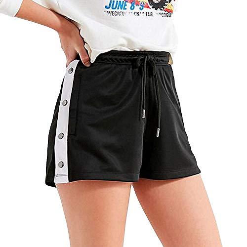 Qmber Damen Sommer Shorts Kurze Hose mit Schleife zum binden Bermuda Super weiche Baumwoll elastisch Stretch Yoga Unterhose Elastisches dreifarbiges breites Bein Streifen Baggy/Black,M