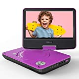 """COOAU 11"""" Portable DVD Player, Support Power Bank Charging, Last Memory Function, Region Free, SD/USB/AV-Out Port with 9' HD Swivel Screen, Purple"""