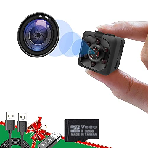 1080P Hidden Camera Portable Mini Spy Camera with 32GB SD Card Smart Camera, Full HD Security Camera with Motion Detection and Night Vision, Surveillance Camera for Indoor Outdoor Car