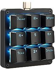Koolertron片手マクロメカニカルキーボード 9キーフルプログラム可能ゲーミングキーボード カスタマイズ可能小型キーボード RGB LEDバックライト OSUに適用