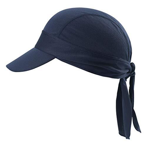 Arcweg Bandana Cap Kopftuch Mit Schirm Atmungsaktiv Pirat Kappe UV Schutz Verstellbar Bikertuch Radsport Mützen Schnelltrockned Dunkelblau