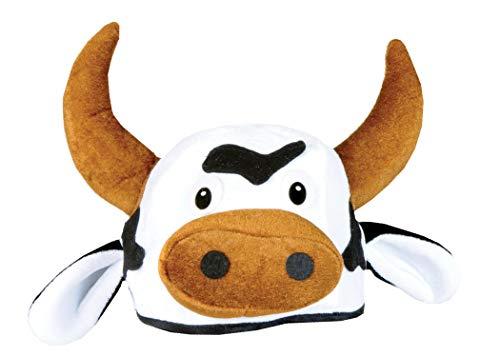 Beistle Cow Head Plush Hat, Brown/Black/White
