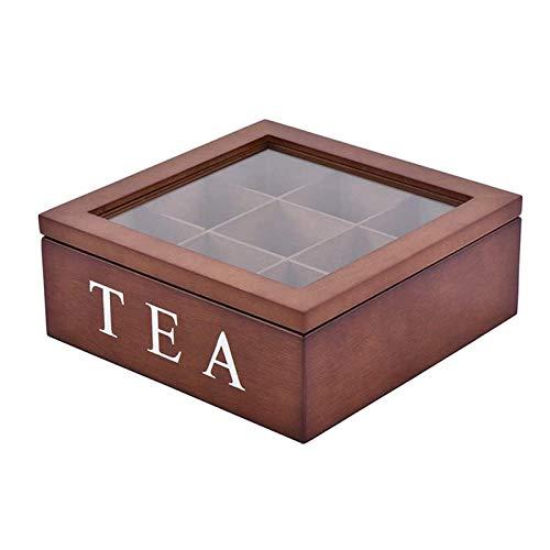 Bingdong Aufbewahrungsbox aus Holz mit 9 Fächern und sichtbarem Deckel für Teebeutel, Schmuck, Kaffee, Retro-Stil, 23 x 23 x 9 cm
