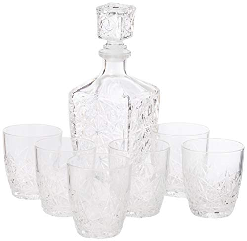 Bormioli Rocco Dedalo - Decantador de cristal (800 ml, 6 vasos, 260...