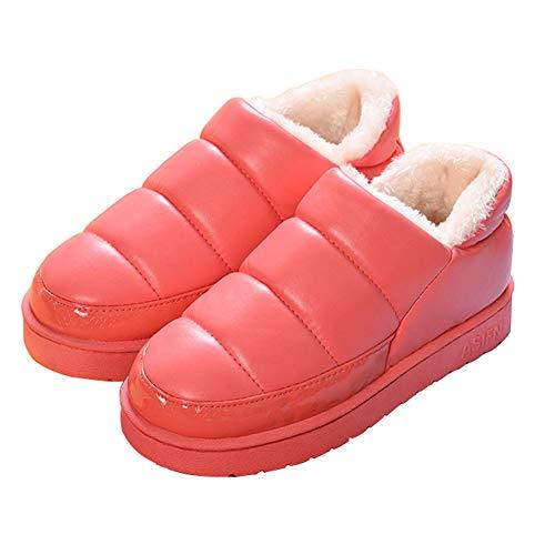 [HRFEER] レディース メンズ ルームシューズ 無地 室内履き 秋冬用 あったか ボア もこもこ 防水 防寒 滑り止め (24.5cm~25.0cm, レッド)