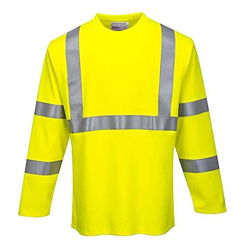 Portwest FR Hi-Vis Long Sleeve T Shirt, Yellow, XL