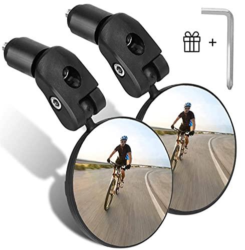 Goldmiky Specchietti Bici, Specchio Convesso Specchietto Retrovisore per Bicicletta 360 °Regolabile Specchio Rotante, grandangolo regolabile per Mountain Road Bike, Bici da Corsa (2 pezzi)
