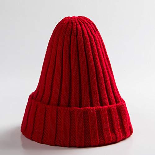 WFZ17 Strickmütze, einfarbig, warm, weich, mit Manschette, Totenkopf-Design, für Damen und Herren, Rot