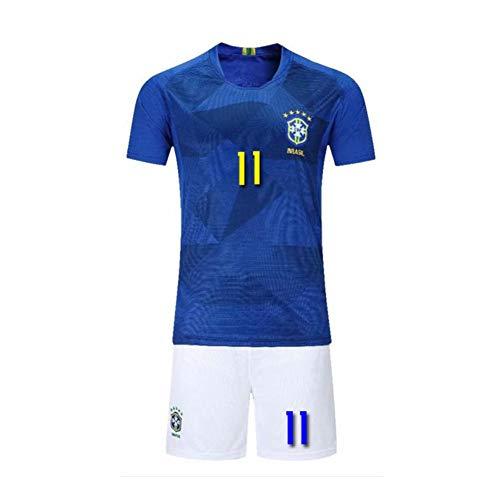 PAOFU-Die Brasilianische Fußballnationalmannschaft Philippe Coutinho # 11 Herren Fan Fußball Trikot Set,Blau,M