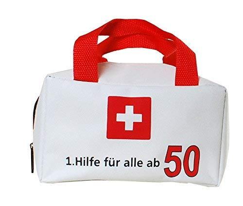 50. Geburtstag Scherzartikel Geburtstagsgag Tasche mit Aufschrift 1.Hilfe für alle ab 50 Geburtstagsgeschenk zum 50. Geburtstag Dekoration zum 50er Geburtstag Party oder andere Anlässe