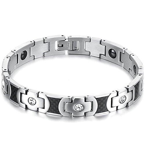 Acero inoxidable JewelryWe terapia magnética pulsera para hombre
