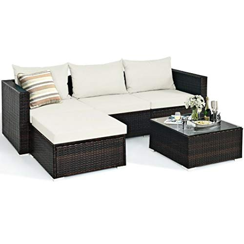 5Pcs Patio Rattan Furniture Set with Coffee Table (OFFWHITE)