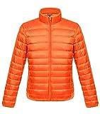 ダウンジャケット メンズ 軽量 暖かい ウルトラライト ダウン コート コンパクト収納 おしゃれ ライト 防風 防寒 撥水 収納袋付き 立ち襟 オレンジ XXXL
