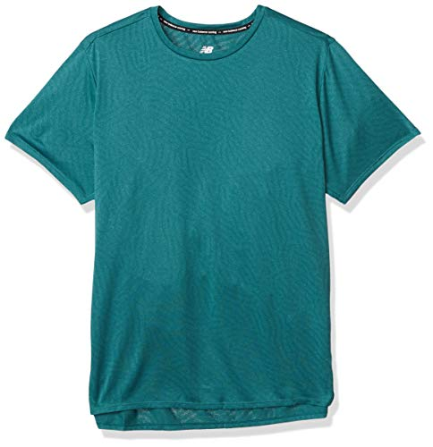 New Balance Q Speed Jacquard SS Camiseta, Mirgrnht, L Hombre