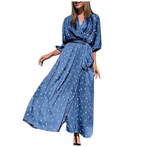 YANFANG Vestido Casual de Manga Larga con Degradado de Color de impresión de Moda de Primavera para Mujer