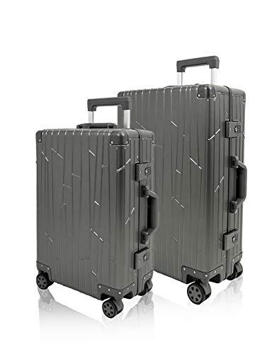 GUNDEL Aluminium Koffer Set Cabin Trolley Handgepäck 55x40x20 cm 35L Reisekoffer Check-in 66x43x23 cm H/B/T 55L 4x360° Rollen Space Grau Bundle 2X TSA-Zahlenschloss