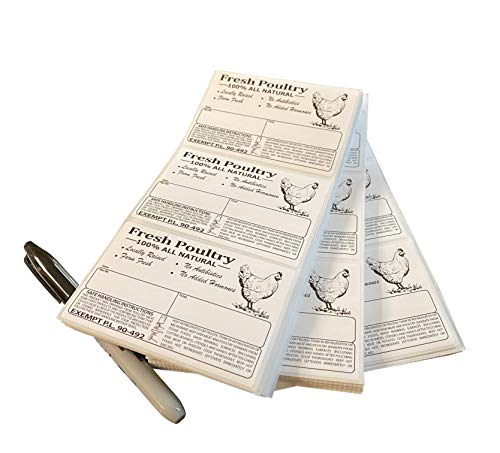 """Poultry Freezer Labels 4"""" x 2.5"""" with Safe Handling Instructions and Exemption � P.L. 90-492 (25)"""