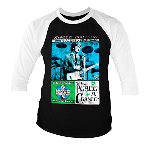Licenciado Oficialmente John Lennon - Toronto Peace Festival Baseball Camisa de Manga 3/4 para Hombre (Negro-Blanco), Medium